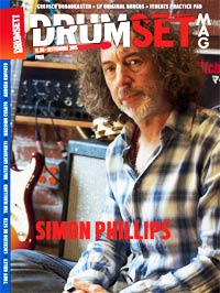 "FREE - Drumset Mag n. 38 di Settembre 2015 - Spotlight su SIMON PHILLIPS - The Catalyst"" width="